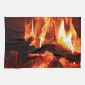 Burning Fireplace Flames I Tea Towel