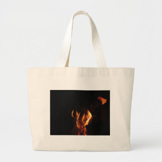 Burning fireplace with fire flames large tote bag
