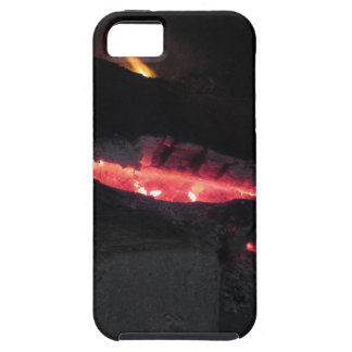 Burning fireplace with fire flames on black case for the iPhone 5