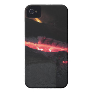 Burning fireplace with fire flames on black iPhone 4 Case-Mate case