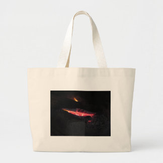 Burning fireplace with fire flames on black large tote bag