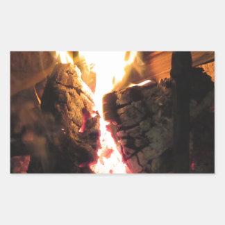 Burning fireplace with fire flames rectangular sticker