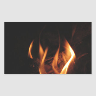 Burning fireplace with fire flames rectangular sticker