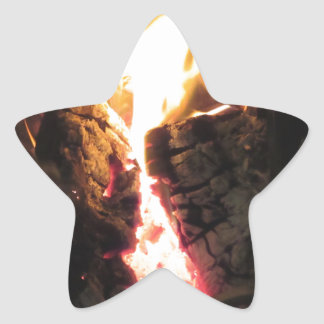 Burning fireplace with fire flames star sticker