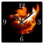Burning Flame Fire-themed Art Clock