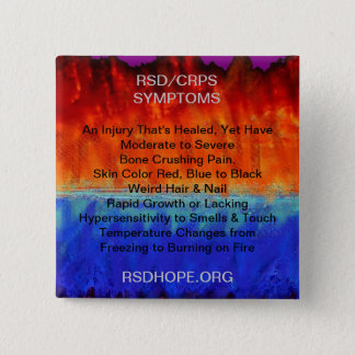 Burning Flames & Freezing Ice Storms RSD SYMPTOMS 15 Cm Square Badge