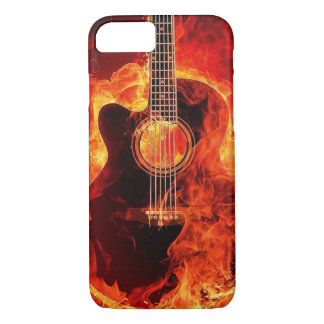 Burning Guitar Flames Fire Music Orange Black iPhone 8/7 Case