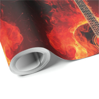 Burning Guitar, Orange Flames Music Rock Band Wrapping Paper