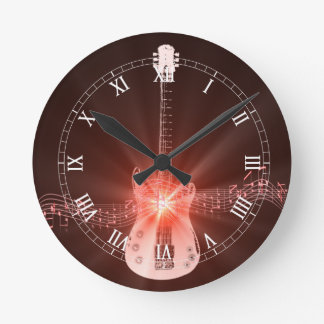 Burning Guitar Round Clock