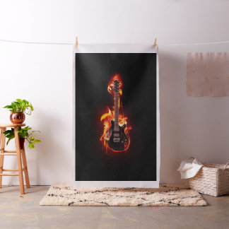 Burning Guitar Tapestry Fabric