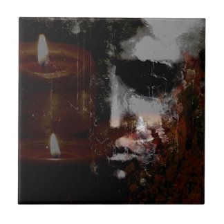 Burning Head Small Photo Tile