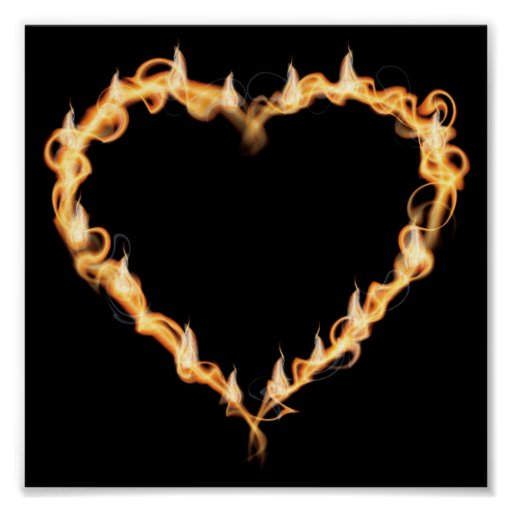 Burning Heart of Fire Black Dark Love Graphics Posters