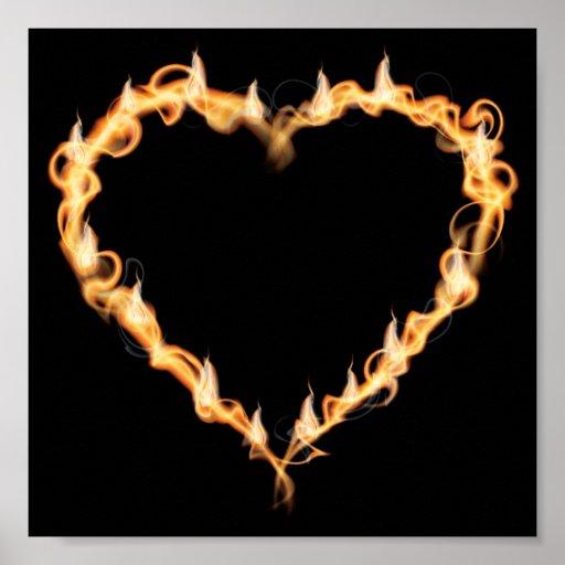 Burning Heart of Fire Black Dark Love Graphics Posters