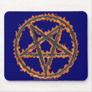 Burning Inverted Pentagram Mouse Pad