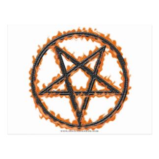 Burning Inverted Pentagram Postcard