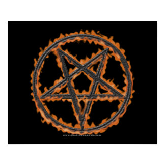 Burning Inverted Pentagram Poster
