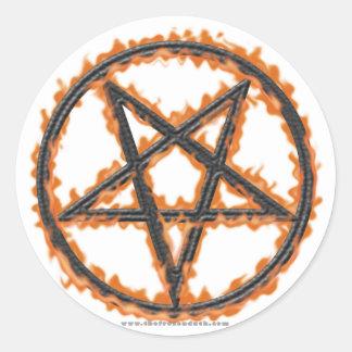 Burning Inverted Pentagram Round Sticker