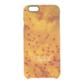 burning love hearts on fiery orange clear iPhone 6/6S case