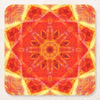 Burning Mandala Square Paper Coaster