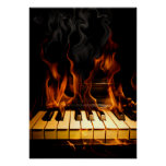 Burning Piano Poster