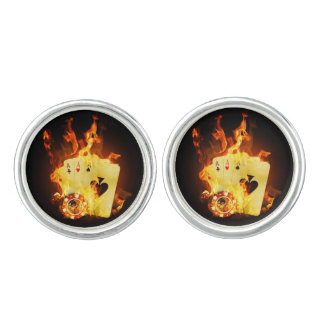 Burning Poker Cards Cufflinks