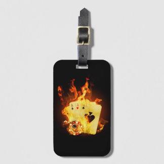 Burning Poker Cards Luggage Tag