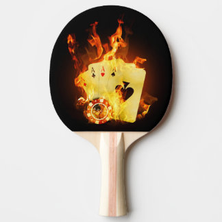 Burning Poker Cards Ping Pong Paddle