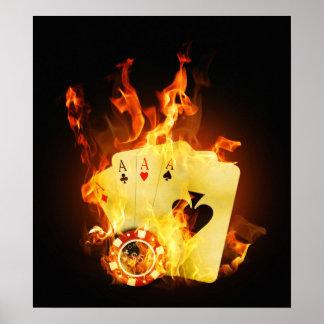 Burning Poker Cards Poster