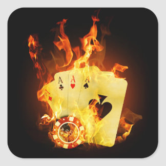 Burning Poker Cards Stickers