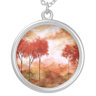 Burning Promise Round Pendant Necklace Painting