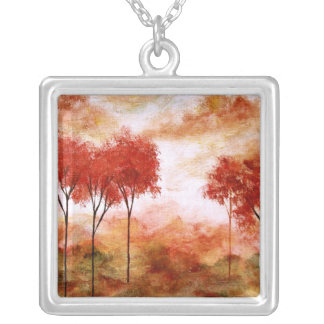 Burning Promise Square Pendant Necklace Painting