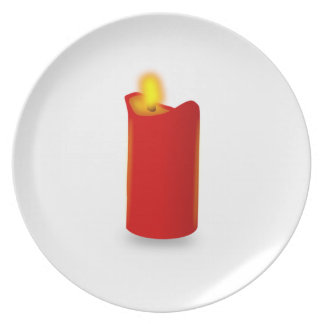 Burning Red Candle Party Plates