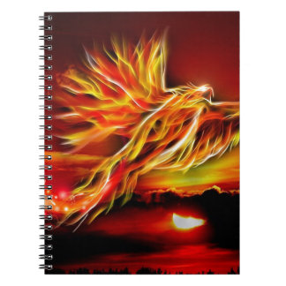 Burning Red Flying Phoenix Garden of Tarot Notebook