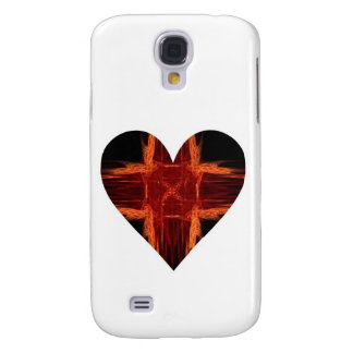 Burning Red Tic Tac Toe Fractal Art Heart Galaxy S4 Cover