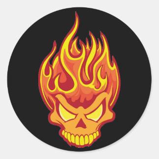 Burning Skull Round Sticker