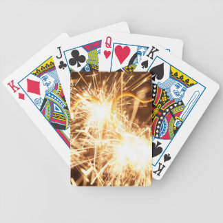 Burning sparkler in form of a heart bicycle playing cards