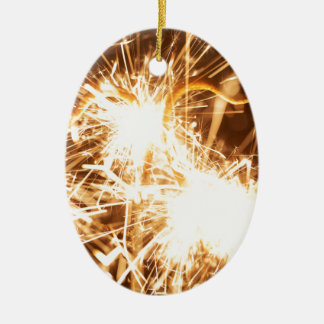 Burning sparkler in form of a heart ceramic ornament