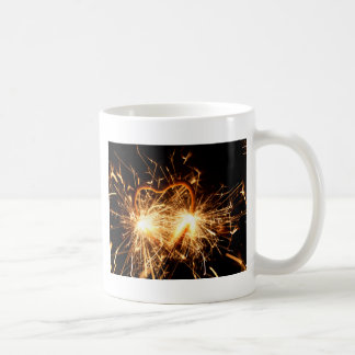 Burning sparkler in form of a heart coffee mug
