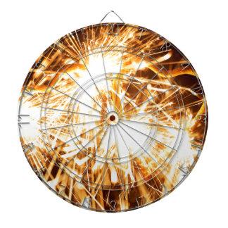 Burning sparkler in form of a heart dartboard