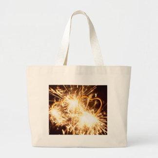 Burning sparkler in form of a heart large tote bag