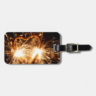 Burning sparkler in form of a heart luggage tag