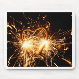 Burning sparkler in form of a heart mouse pad