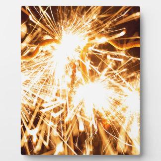 Burning sparkler in form of a heart plaque
