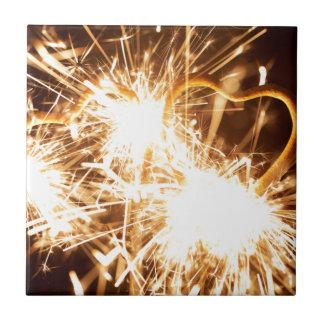 Burning sparkler in form of a heart tile