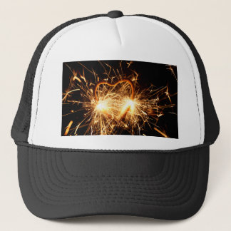 Burning sparkler in form of a heart trucker hat