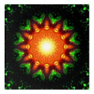 Burning Star-Shaped Energy Core Acrylic Wall Art