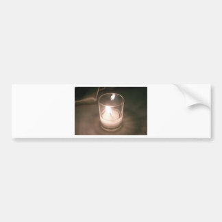 Burning Tea Light Candle with Brown Backdrop Bumper Sticker