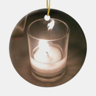 Burning Tea Light Candle with Brown Backdrop Round Ceramic Decoration