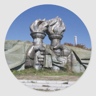 Burning torch sculpture Buzludzha monument Classic Round Sticker