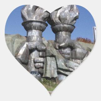 Burning torch sculpture Buzludzha monument Heart Sticker